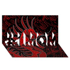 Red Dragon #1 Mom 3d Greeting Cards (8x4)
