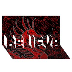 Red dragon BELIEVE 3D Greeting Card (8x4)