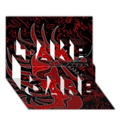 Red dragon TAKE CARE 3D Greeting Card (7x5)