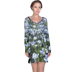 Blue Forget Me Not Flowers Long Sleeve Nightdress