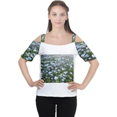 Blue Forget-me-not flowers Women s Cutout Shoulder Tee