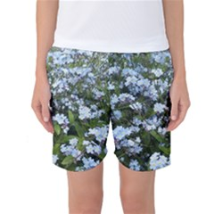Blue Forget-me-not flowers Women s Basketball Shorts
