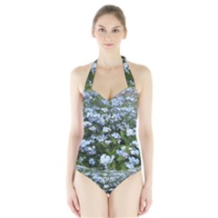 Blue Forget-me-not flowers Halter Swimsuit