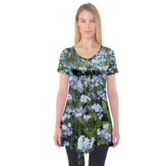 Blue Forget Me Not Flowers Short Sleeve Tunic