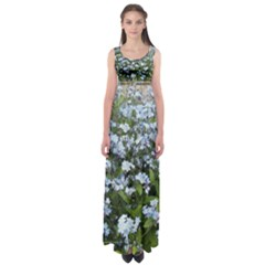 Blue Forget Me Not Flowers Empire Waist Maxi Dress