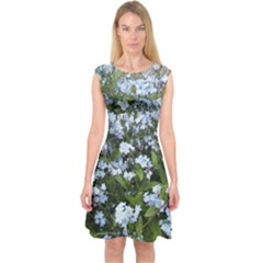 Blue Forget-me-not flowers Capsleeve Midi Dress