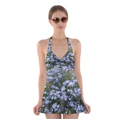 Little Blue Forget-me-not flowers Halter Swimsuit Dress