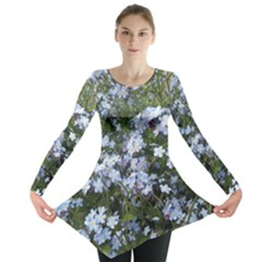 Little Blue Forget-me-not flowers Long Sleeve Tunic