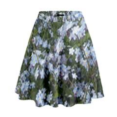 Little Blue Forget Me Not Flowers High Waist Skirt