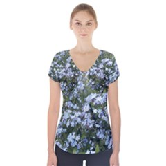 Little Blue Forget-me-not flowers Short Sleeve Front Detail Top