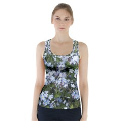 Little Blue Forget-me-not flowers Racer Back Sports Top