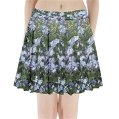 Little Blue Forget Me Not Flowers Pleated Mini Skirt