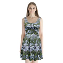 Little Blue Forget-me-not flowers Split Back Mini Dress