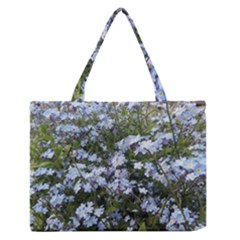 Little Blue Forget Me Not Flowers Medium Zipper Tote Bag