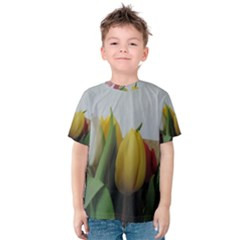 Colorful bouquet Tulips Kids  Cotton Tee