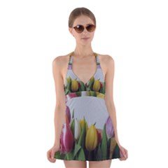 Colorful bouquet Tulips Halter Swimsuit Dress