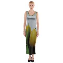Colorful bouquet Tulips Fitted Maxi Dress