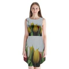 Colorful Bouquet Tulips Sleeveless Chiffon Dress