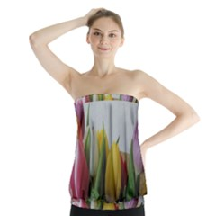 Colorful bouquet Tulips Strapless Top