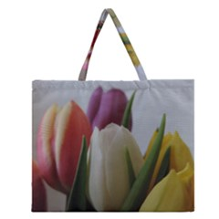 Colored by Tulips Zipper Large Tote Bag