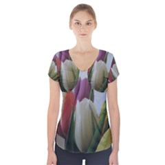 Colored By Tulips Short Sleeve Front Detail Top