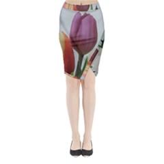 Tulip Spring Flowers Midi Wrap Pencil Skirt