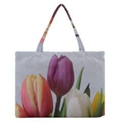 Tulip spring flowers Medium Zipper Tote Bag