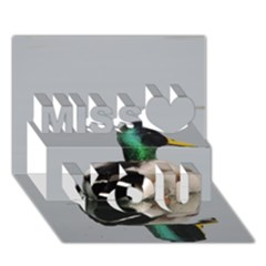 Swimming Duck Miss You 3d Greeting Card (7x5)