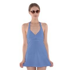 Blue Color Halter Swimsuit Dress
