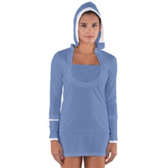 Blue Color Women s Long Sleeve Hooded T Shirt