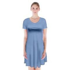 Blue color Short Sleeve V-neck Flare Dress