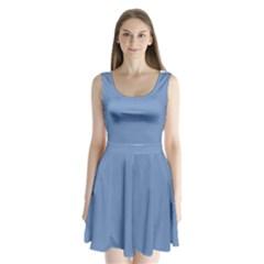 Blue color Split Back Mini Dress
