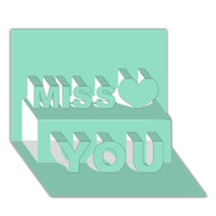 Mint color Miss You 3D Greeting Card (7x5)