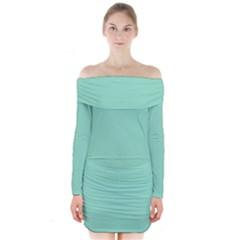 Mint color Long Sleeve Off Shoulder Dress