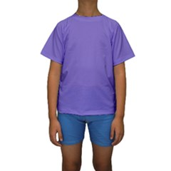 Lilac - purple color design Kids  Short Sleeve Swimwear