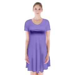 Lilac - purple color design Short Sleeve V-neck Flare Dress