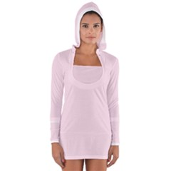 Pink color design Women s Long Sleeve Hooded T-shirt