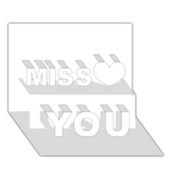 White color design Miss You 3D Greeting Card (7x5)