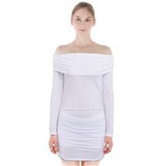 White Color Design Long Sleeve Off Shoulder Dress
