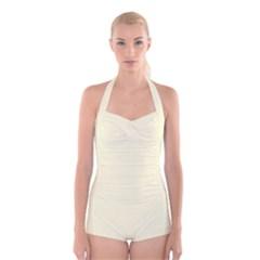 Yellow color design Boyleg Halter Swimsuit