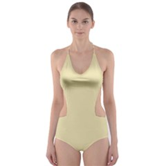 Gold Yellow color design Cut-Out One Piece Swimsuit