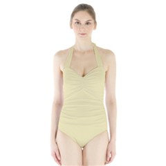 Gold Yellow color design Halter Swimsuit