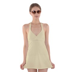 Gold Yellow color design Halter Swimsuit Dress