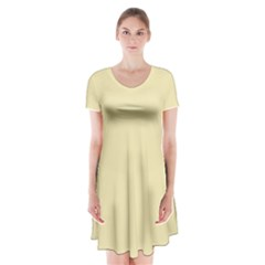 Gold Yellow Color Design Short Sleeve V Neck Flare Dress