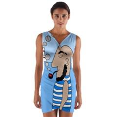 Sailor Wrap Front Bodycon Dress