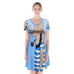 Sailor Short Sleeve V-neck Flare Dress