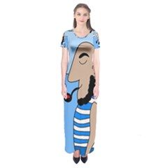 Sailor Short Sleeve Maxi Dress