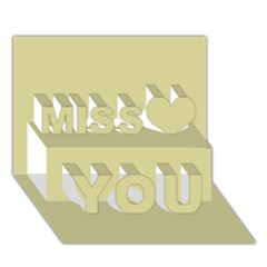Brown Sand Color Design Miss You 3d Greeting Card (7x5)