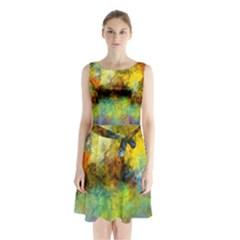 Lagoon Sleeveless Chiffon Waist Tie Dress