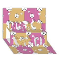 Symbol Peace Drawing Pattern Miss You 3D Greeting Card (7x5)